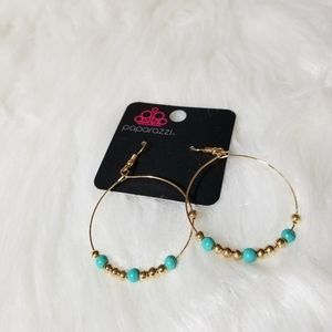 Nwt Gold blue hoops